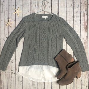 monteau Sage Green Cable Knit Sweater • Size Small